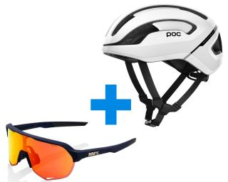 POC Omne AIR SPIN + 100% S2 HiPER Red Racefiets Helm Wit