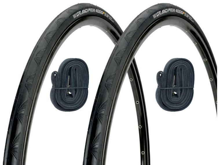 Continental Grand Prix 4000S II Tyre 2 pieces + 2 inner tubes for just £5