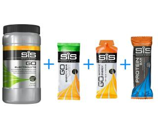 SiS 1 + 2 + 3 + 4 Actiepakket SiS Go Electrolyte Tropical Fruit / SiS Go Energy Gel Sinaasappel / SiS Proteine Bar Chocolate & Peanut / SiS Go Energy Reep Apple/Blackcurrant