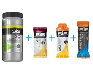 SiS 1 + 2 + 3 + 4 Actiepakket SiS Proteine Bar Chocolate & Peanut / SiS Go Energy Gel Orange / SiS Go Electrolyte Lemon & Lime / SiS Go Bar Red currant